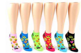 72 Units of Ladies Low Cut Sock Emoji Print - Womens Ankle Sock