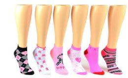 72 Units of Ladies Low Cut Sock Pink Ribbon - Womens Ankle Sock