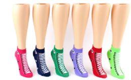 72 Units of Ladies Low Cut Sock Sneaker Print - Womens Ankle Sock