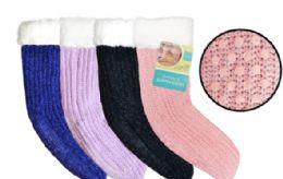 12 Units of Sherpa Lined Knit Slipper Sock - Womens Slipper Sock