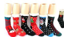 12 Units of Sherpa Lined Knit Slipper Sock Christmas - Womens Slipper Sock