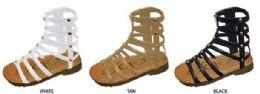12 Units of Toddler Girl's Elastic Gladiator Sandals w/ Studs & Inside Zipper - Girls Flip Flops