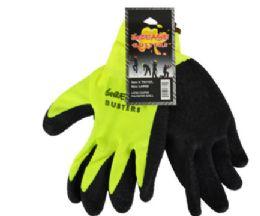 48 Wholesale Latex Work Gloves Hi Vis Yellow Large