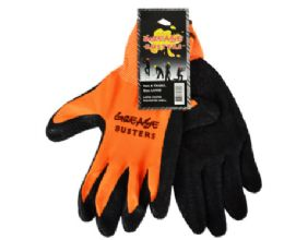 48 Wholesale Latex Work Gloves Hi Vis Orange Large