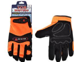 12 Wholesale Mechanics Leather Fabric Gloves Orange Size Large
