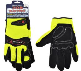 12 Wholesale Mechanics Leather Fabric Gloves Yellow Size Large