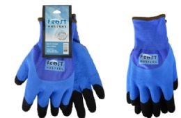24 Wholesale Winter Work Gloves Blue In Size Large