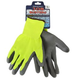36 Wholesale Work Gloves With Honeycomb Grip Yellow Size Large