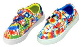 36 Units of Girl's Tie Dye Sneakers w/ Dual Velcro Straps - Girls Sneakers