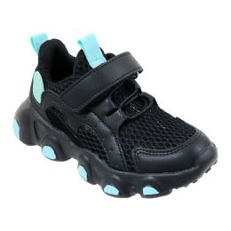 12 Units of Girl's Adjustable Strap Breathable Sneakers w/ Two Tone Trim & Elastic Laces - Girls Sneakers