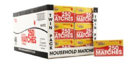 96 Units of Wood Matches 10x250 Count - Lighters