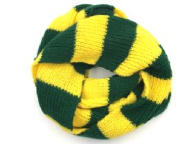 24 Units of Green And Yellow Knit Scarf - Winter Scarves