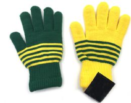 36 Units of Green And Yellow Lined Gloves - Winter Gloves