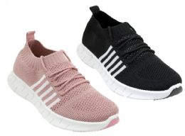 12 Units of Women's Breathable Fitness Sneakers w/ Three Stripes - Asst - Women's Sneakers