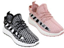 12 Units of Women's Fitness Sneakers w/ Two Tone Patterns - Asst - Women's Sneakers