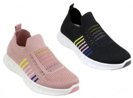12 Units of Women's Breathable Fitness Slip-On Sneakers w/ Two Tone Stripes - Assorted - Women's Sneakers