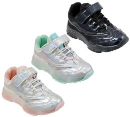 12 Units of Girl's Holographic Breathable Sneakers w/ Glitter Details, Adjustable Strap & Elastic Laces - Girls Sneakers