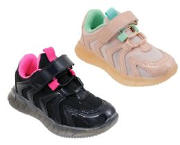 12 Units of Girl's Two Tone Breathable Sneakers w/ Adjustable Strap & Elastic Laces - Girls Sneakers