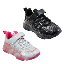 12 Units of Girl's Breathable Sneakers w/ Adjustable Strap & Elastic Laces - Girls Sneakers