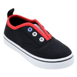 12 Units of Girl's Two Tone Canvas No Lace Slip-On Sneakers - Girls Sneakers