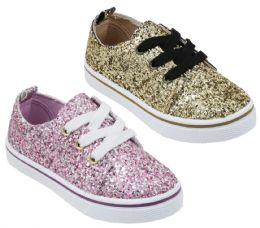 12 Units of Girl's Sequin Embroidered Sneakers - Choose Your Color(s) - Girls Sneakers