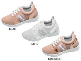 12 Units of Girl's Mesh Sneakers w/ Bebe Rhinestone Stripe - Girls Sneakers
