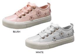 12 Units of Girl's Lace-Up Low Top Sneakers w/ Satin Laces & Glitter Flower Adornments - Girls Sneakers