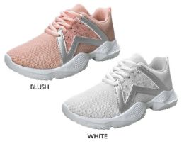 12 Units of Girl's Mesh Lace-Up Sneakers w/ Glitter Star Detail - Girls Sneakers