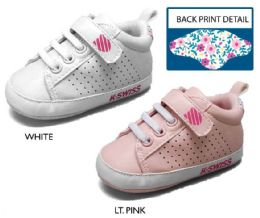 18 Units of Infant Girl's Perforated Sneakers w/ Elastic Laces & Floral Print Heel - Girls Sneakers