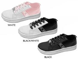 12 Units of Girl's Lace Up Sneakers w/ Bebe Print & Printed Laces - Girls Sneakers