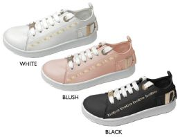 12 Units of Girl's Lace Up Sneakers w/ Gold Bebe Print & Hardware - Girls Sneakers
