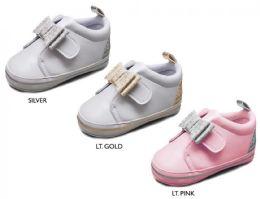18 Units of Infant Girl's Glitter Bow Sneakers w/ Bebe Print Heel & Metallic Stripe Sidewall - Girls Sneakers