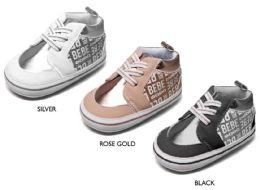 36 Units of Infant Girl's Bebe Print Glitter Sneakers w/ Metallic Details & Elastic Straps - Girls Sneakers