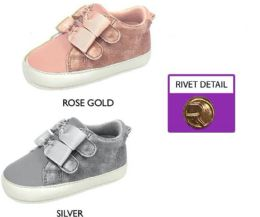 18 Units of Infant Girl's Shimmer Sneakers w/ Velcro Straps & Metallic Bow - Girls Sneakers