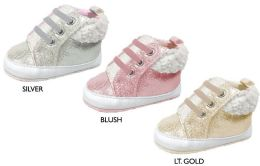 18 Units of Infant Girl's Shimmer Sneakers w/ Sherpa Trim & Elastic Laces - Girls Sneakers