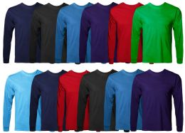 36 Bulk Mens Cotton Long Sleeve Tee Shirt Assorted Colors Size Small