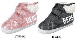 18 Units of Infant Metallic Velcro Sneakers w/ Sherpa Trim & Bebe Logo - Girls Sneakers