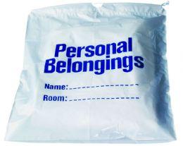 "250 Bulk Belongings Bag w/ Drawstring (White w/ Blue Imprint) 17"" x 20"""