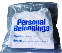 "250 Bulk Belongings Bag w/ Drawstring (Clear w/ Blue Imprint) 17"" x 20"""