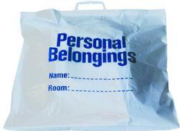 "250 Bulk Belongings Bags w/ Handle (White w/ Blue Imprint) 18 1/2"" x 20"""