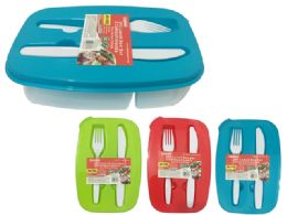 48 Units of 3 Piece 2 Compartment Lunch Box - Lunch Bags & Accessories