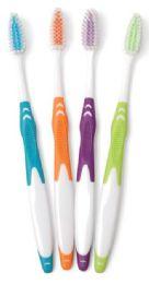 144 Bulk Adult Rubber Handle Nylon Toothbrushes