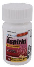 24 Bulk Chewable Aspirin, Orange Tabs, 36/bt