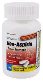 24 Bulk Acetaminophen Caplets, 500mg, 100/bt