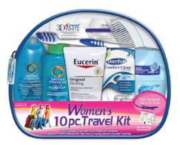 6 Bulk Women's Travel Hygiene Convenience Kits - 10 pc. in Zippered Pouch