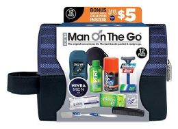 6 Bulk Men's Deluxe Travel Hygiene Convenience Kits - 12 pc. in Zippered Pouch