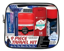 4 Bulk Men's Travel Hygiene Convenience Kits - 9pc. in Zippered Pouch