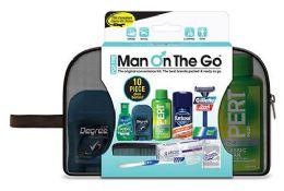 6 Bulk Men's Travel Hygiene Convenience Kits - 10 pc. in Zippered Pouch