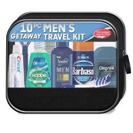4 Bulk Men's Travel Hygiene Convenience Kits - 10 pc. in Zippered Pouch