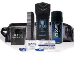 6 Bulk Men's Travel Hygiene Convenience Kits - 6 pc. in Zippered Pouch